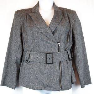 Lane Bryant Blazer Gray Moto Zip Belted Jacket